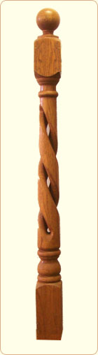 Hollow Rope Wood Newel Post: Colonial Spindle,  5 in. block