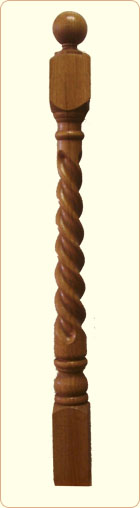 Rope Wood Newel Post: Colonial Spindle, 5 in. top block